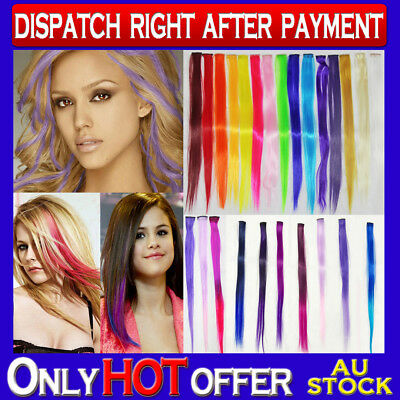 Clip In Highlight colour Hair Extensions Single Piece Streak colourful stripe