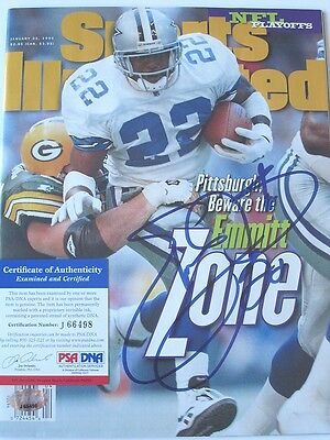 Emmitt Smith signed Sports Illustrated autographed Dallas Cowboys PSA J66498