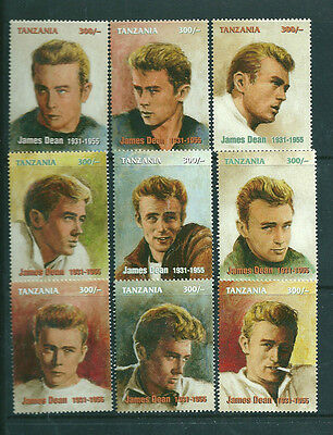 Tanzania James Dean set of 9 unmounted mint