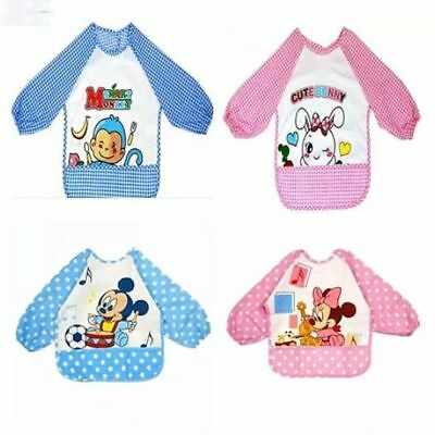 Cartoon Baby Toddler Children Long Sleeve Waterproof Art Smock Feeding Bib Apron