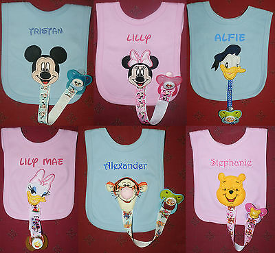Mickey, Minnie, Daisy, Donald, Tigger & Pooh Bibs with Dummy Holder & Dummy