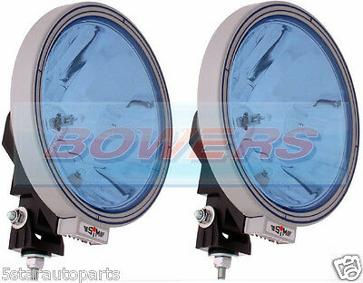"""Pair Of 12V/24V 9"""" Round Blue Spot/driving Lamps/lights Truck/lorry/4X4/off Road"""