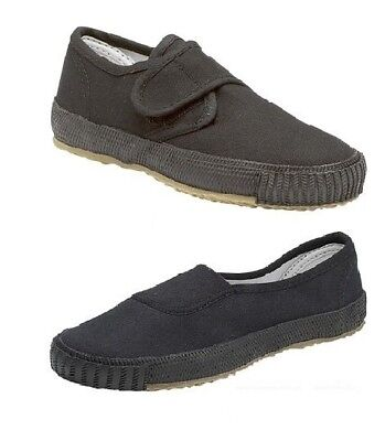 New Boys Girls Unisex Black School Shoes PE Pumps Plimsolls Slip On Plims