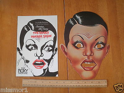 The Rocky Horror Show 1974 program & Mask SCARCE! Tim Curry Meat Loaf Roxy Thetr