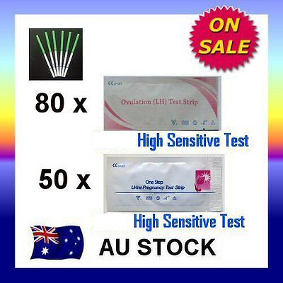 80 x Ovulation LH Test + 50 x Pregnancy hCG Test Strips Urine Fertility OPK Kit