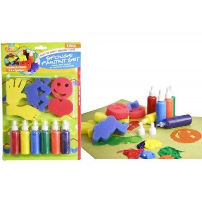 2 x PacksSponge Paint Set 6 paints x 6 shaped sponges. Excellent Kids Craft Kit