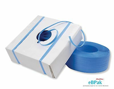 12mm x 1000m Blue Hand Poly Strap strapping polypropylene #4500 90kg Break Load