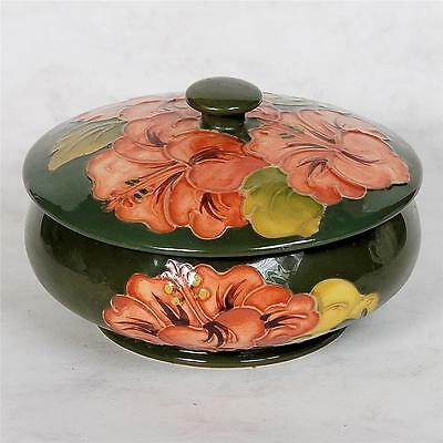 Signed Moorcroft Cover Dish - Coral/peach Hibiscus