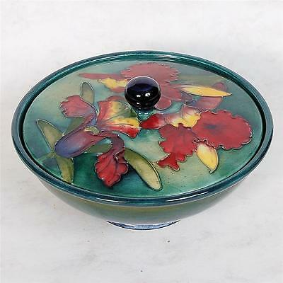 Signed Moorcroft Covered Dish - Orchids  Paper Label