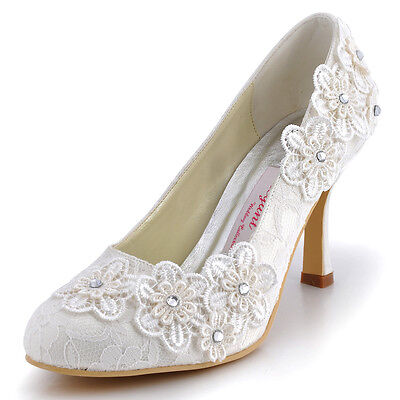 EP11099 Ivory Women Party Rhinestones Lace Appliques Almond Toe Wedding Shoes