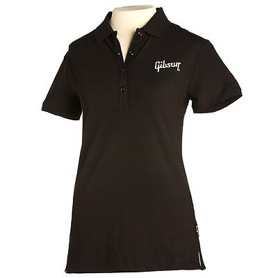 GIBSON GUITAR WOMEN'S POLO SHIRT SIZE SMALL BLACK W/EMBROIDERED LOGO