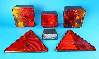 Trailer Lighting Kit with Triangle Reflectors, Number Plate Lamp & Rear Fog Lamp