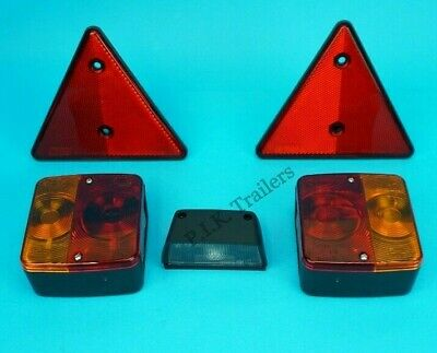 Rear Trailer Light Kit with Number Plate Lamp & Triangle Reflectors