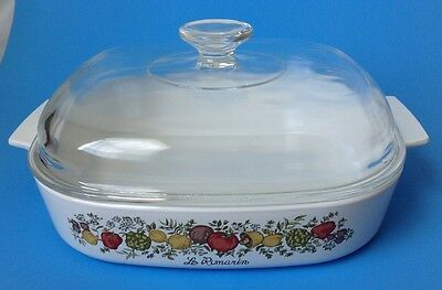 Corning Ware Spice Of Life A 10 B Casserole 2.5 Qt Domed Pyrex Glass Lid A12 C