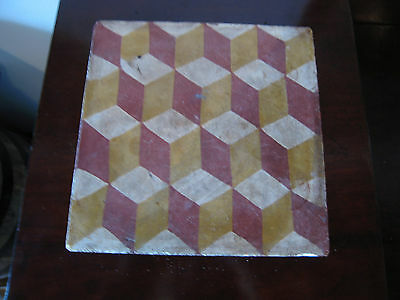 Vintage Possibly Antique Signed Modern Style Geometric Pattern Painted Tile