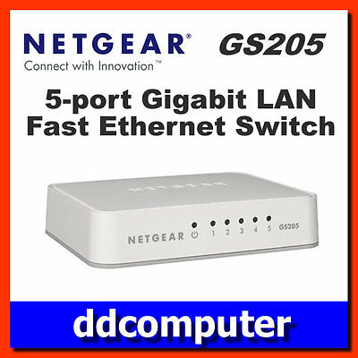 Netgear GS205 5-Port Gigabit Switch 10/100/1000mbps Ethernet LAN Desktop Hub
