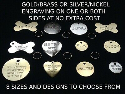 Brass Name Pet Disc Tags Dog Cat Personalised Pet Id Tag Free Engraving & Ring.