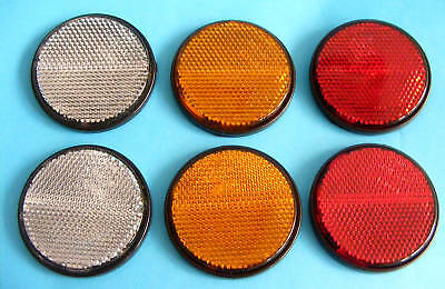6 x Self Adhesive Stick on Round 60mm Reflectors Clear Amber Red
