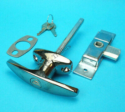 Chrome T Handle & HEAVY DUTY Door Lock Latch for Trailer Horse Box & Catering