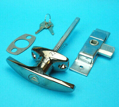 FREE P&P* Chrome T Handle & Door Lock Latch for Trailer Horse Box & Catering