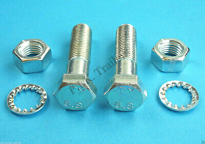 2 x 65mm M16 High Tensile 8.8 Grade Towball Mounting Bolts with Serrated Washers