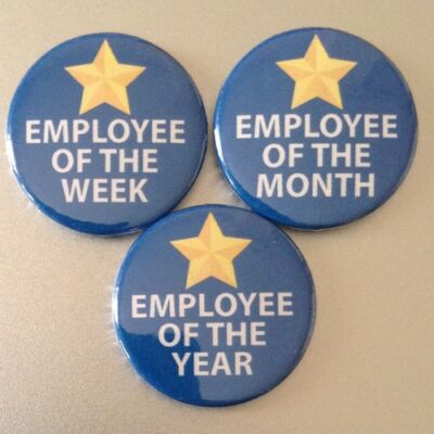 BUY 2 & GET 1 FREE - Employee of the Week Month Year 25mm Button Badge Job gifts