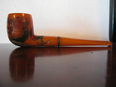 Vintage Bakelite Pipe w/ Painted Dragon Decoration Very Light Use if Any