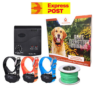 Waterproof electric dog fence system fencing hidden 3 collar containment deluxe