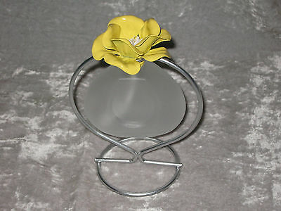 Unique Glass Oil Lamp Yellow Flower Wick Wire Stand Flame Light NEW!