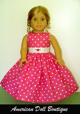 """Fits 18"""" American Girl Doll Clothes - Handmade Pink & White Polka dots Dress"""