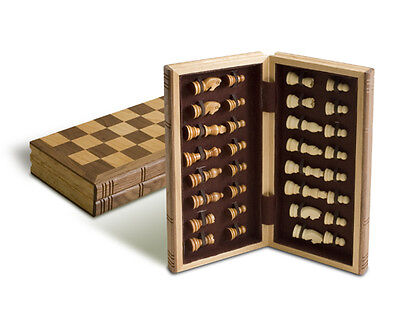 """New 12"""" Traditional Wooden Folding Chess Board with Magnetic Closure 2 1/2"""" King"""