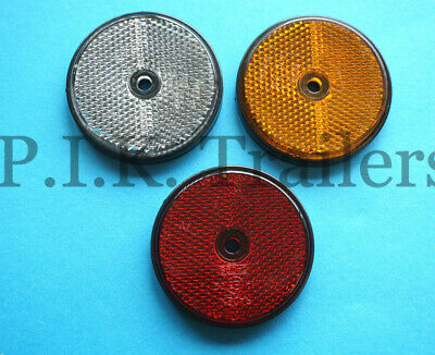 FREE P+P* 60mm Round Reflectors for Driveway Posts, Garden Walls, Trailers etc