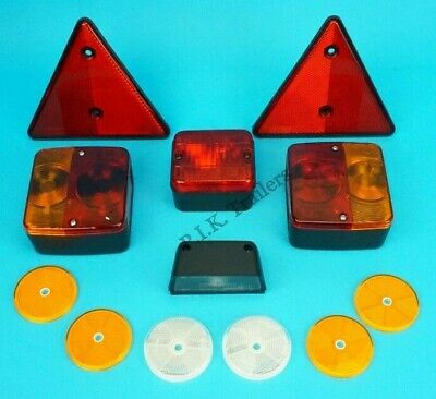 Trailer Rear Lighting Kit & Reflector Set with Number Plate and Fog Lamp