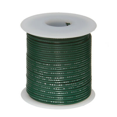 "22 AWG Gauge Stranded Hook Up Wire Green 100 ft 0.0253"" UL1015 600 Volts"