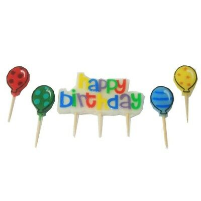 5pce x Birthday Candle Set. 1 x Happy Birthday Candle. 4 x Balloon Candles.