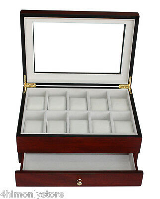 Gents 10 Watch & Jewellery Wooden Glass Display Storage Wood Case Box Chest