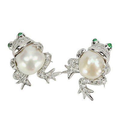 14k Pair of South Sea Pearl and Diamond Frog Pins
