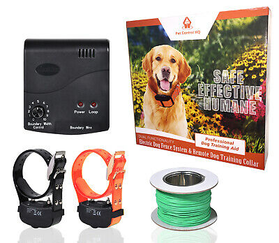 Waterproof Electric Dog Fence System 2 Collar Hidden Fencing Containment Deluxe
