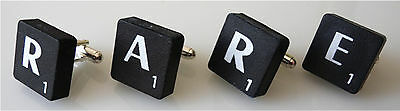 Black Scrabble Letter Cufflink - Black Dinner Tie  - Purchase 2 For A Set