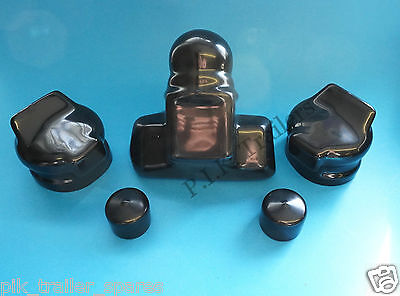 Black Towball Cover with 2 Plug & Socket Cover - Caravan towing