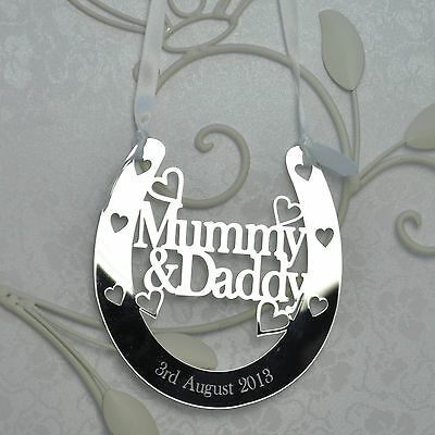 Personalised Mummy and Daddy Good Luck Horseshoe Bridal Wedding Anniversary Gift