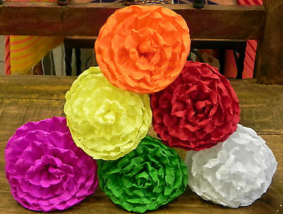 """Mexican Crepe Paper Flowers Set of 6  Multicolor  LOLYS """"We Make Special Orders"""""""