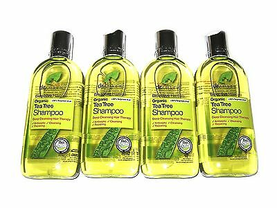 DR ORGANIC 1L Tea Tree SHAMPOO ( 4 x 265ml )  Aloe Vera