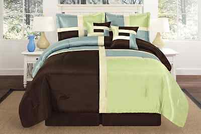 Sage / Aqua / Brown Square Design Faux Silk  Oversize Comforter Set Queen King
