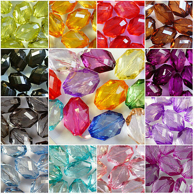 LARGE~OVAL~FACETED TRANSPARENT~ACRYLIC BEADS~CHOOSE COLOUR ~ 22 MM x 15 MM
