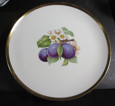 "Hutschenreuther 8"" Fruit Plate Purple Plums, Flowers Gold Trim"