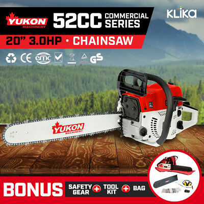 NEW YUKON 52cc PETROL CHAINSAW 20 inch BAR 2-STROKE TREE LOG CHAIN SAW