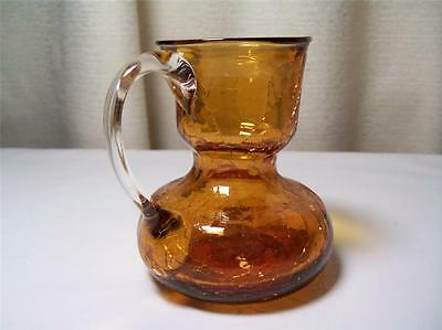 Vintage Crackle Glass Pitcher Cruet Amber Rough Pontil Applied Handle Wide Mouth