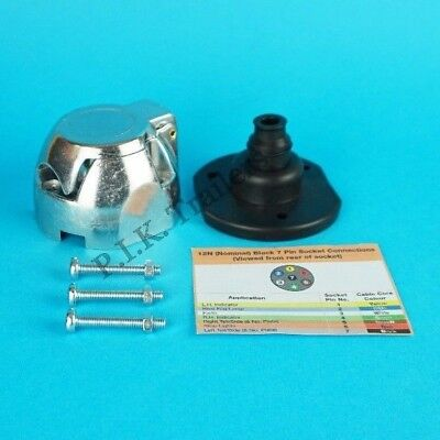 Metal 7 Pin 12N Towing Socket with Gasket Seal & Bolts for Caravan & Trailer