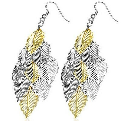 Stainless Steel Yellow Gold Silver Two-Tone Leaves Long Dangle Earrings